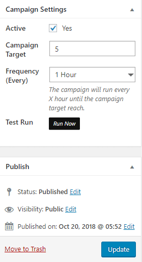 Run your campaign with WP Content Pilot