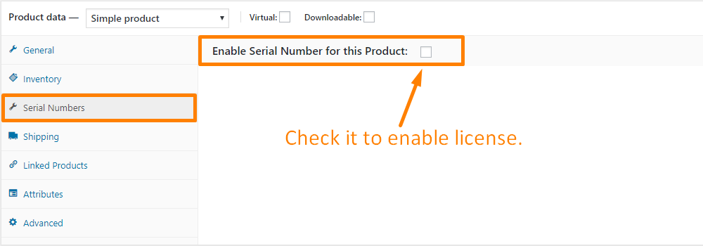 Add license directly from the product edit section
