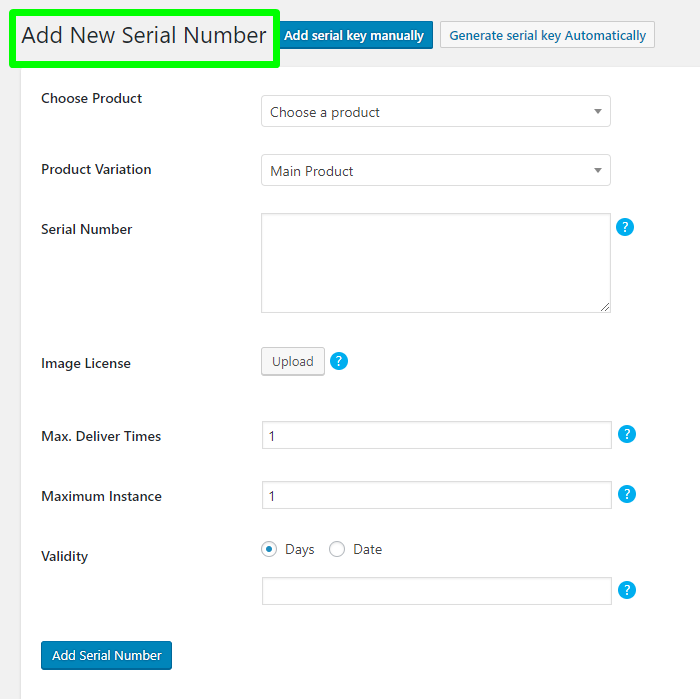 Add serial number manually with WooCommerce Serial Numbers