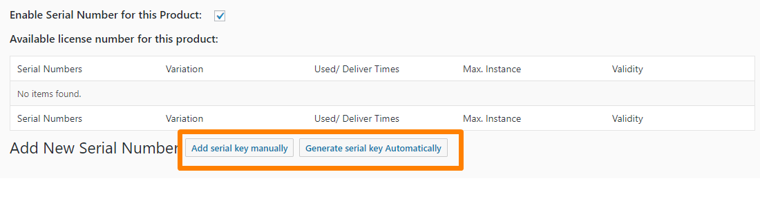 Serial Numbers generation options in the edit product section