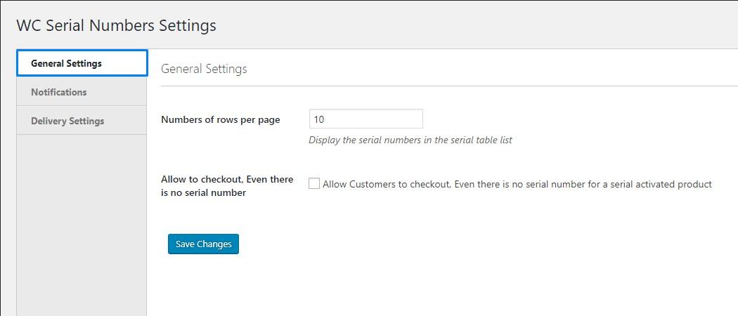 WooCommerce Serial Numbers general settings