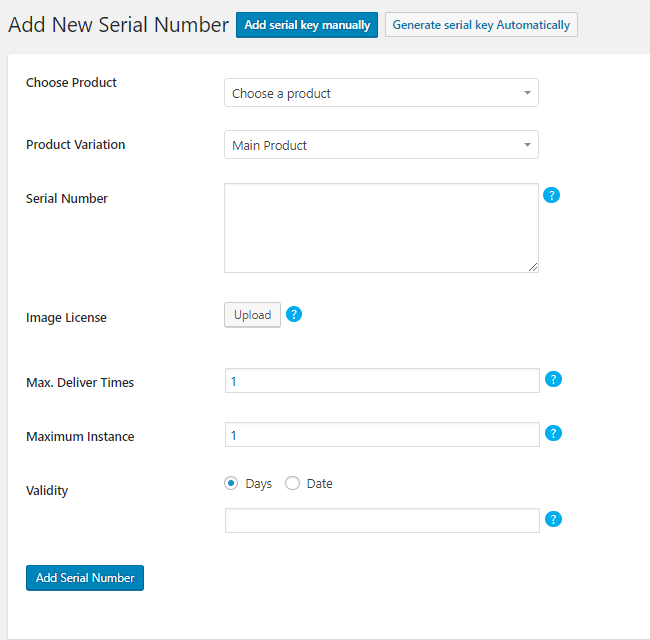 manual license key adding section