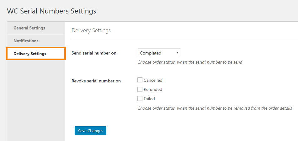 Serial keys delivery section