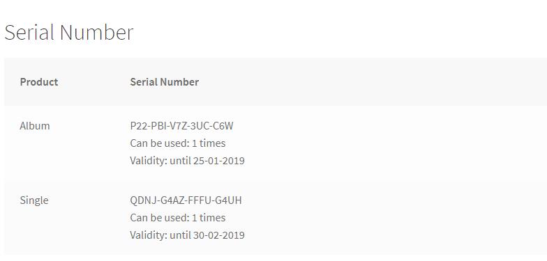 License details on order page
